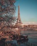 Autunno per la torre Eiffel dal ponte, giro Eiffel, Parigi, Francia 2018 fotografia stock libera da diritti