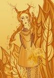 Autunno rosso giallo della ragazza nella foresta con le foglie nelle mani dell'illustrazione dei bambini illustrazione vettoriale