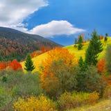 Autunno soleggiato luminoso nelle montagne immagine stock libera da diritti