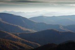 Autunno, strada panoramica blu del Ridge Fotografie Stock Libere da Diritti