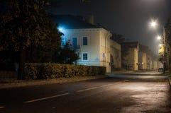 Autunno Via di Karl Marx di notte Kronštadt Fotografie Stock Libere da Diritti