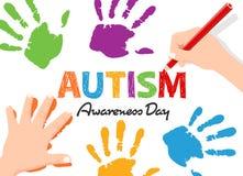 Autyzm świadomości dnia sztandar z dziecko ręką pisze tekscie i robić odcisk palca wektorowy projekt ilustracja wektor