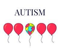 Autyzmu plakat z balonami i łamigłówka kawałkami zdjęcia stock