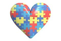 Autyzmu pojęcie z sercem, 3D rendering Obraz Stock