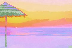 Auvent d'illustration près de la plage photo libre de droits