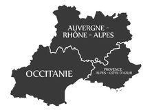 Auvergne - Occitanie - Provence - Alpes - Cote d Azur Map France. Illustration Stock Photo