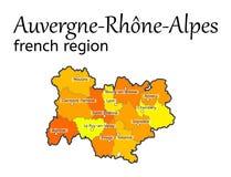 Auvergne-Rhone-Alpes french region map Royalty Free Stock Photo