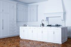 Auxílio branco clássico da cozinha e interior branco com parquet de madeira Fotografia de Stock