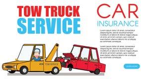 Auxílio da borda da estrada e caminhão de reboque chamada ilustração stock