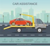 Auxílio da estrada Movimentação do evacuador do carro com o carro vermelho na estrada ilustração royalty free