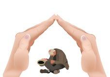 Auxílio da pobreza do apoio do mendigo ilustração royalty free