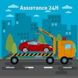 Auxílio do carro Carro do auxílio da borda da estrada Caminhão de reboque ilustração royalty free