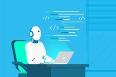 Auxílio do robô e aprendizagem de máquina em linha ilustração do vetor