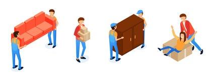 Aux?lio em transportar desenhos animados da mob?lia ilustração do vetor