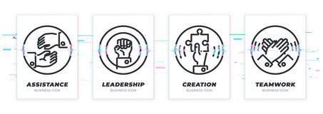 Auxílio, liderança, criação, trabalhos de equipa O tema do negócio glitched os ícones pretos ajustados imagem de stock