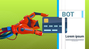 Auxílio virtual do robô do bot do bate-papo do Web site ou de aplicações móveis, conceito da inteligência artificial ilustração stock