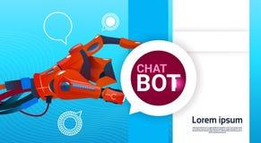 Auxílio virtual do robô livre do bot do bate-papo do Web site ou de aplicações móveis, conceito da inteligência artificial ilustração stock