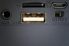 AUX i USB port głośnik Zdjęcia Stock