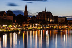 Auxerre along Yonne River Royalty Free Stock Photos