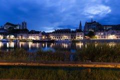 Auxerre along Yonne River Stock Photos