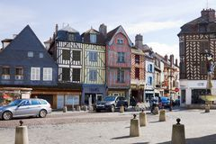 A square in the Old Town of Auxerre with the ancient houses Royalty Free Stock Images
