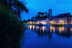 Auxerre Cathedral across Yonne River Royalty Free Stock Photography