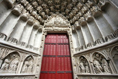 Auxerre cathedral door Stock Photo
