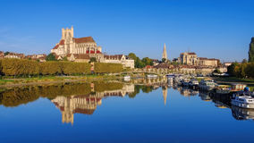 Auxerre, cathedral and Yonne river Royalty Free Stock Photo