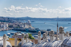 Auxiliary Building Suleymaniye Mosque (1557) against the background of the Golden Horn and the Bosporus Stock Images
