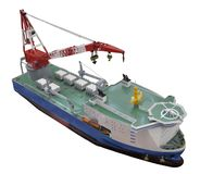 Auxiliary crane ship. Model isolated on white Royalty Free Stock Photo