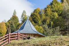 Auxiliary extension of the farm at the foot of the Carpathian Mountains near the  town of Bran in Romania Royalty Free Stock Photography