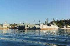 Auxiliary vessels of the black sea fleet for maintenance and repair of warships. The quarantine Bay of Sevastopol Stock Image