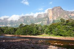 Auyan Tepuy with Angel Falls Stock Photography