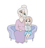 A avó abraça sua neta Fotos de Stock