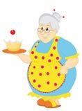 Avó com bolo ilustração stock