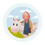 Avó com uma vaca O emblema dos produtos láteos Vector o mal Imagens de Stock