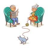 Avó e gato de primeira geração Imagens de Stock