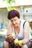 A avó está guardando peras maduras suculentas Peras amarelas nas mãos enrugadas pessoas idosas fotografia de stock royalty free
