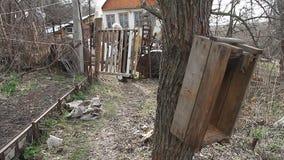 A avó idosa pobre anda através do remendo da terra à porta deteriorada e à casa desmoronada velha vídeos de arquivo