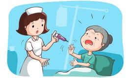 A avó não quer obter vacinada Imagem de Stock