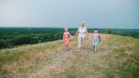Avó para as mãos com dois netos - uma menina e um menino andam através do campo rural vívido vídeos de arquivo