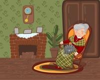 Avó que dorme na cadeira acolhedor com o gato em seus joelhos, mulher superior na ilustração do vetor da sala de visitas ilustração do vetor