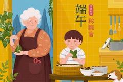 Avó que faz bolinhas de massa do arroz ilustração stock