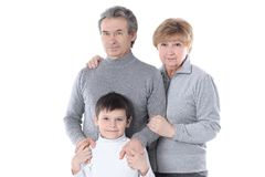 Avó, vovô e neto Isolado no branco imagem de stock royalty free