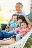 Avós chinesas na rede com as crianças da raça misturada fotos de stock royalty free