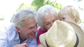 Avós e neta que têm o divertimento no parque junto vídeos de arquivo