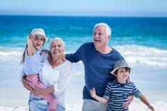 Avós felizes que dão às cavalitas às crianças fotos de stock royalty free