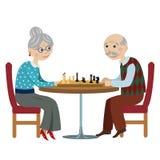 Avós felizes que jogam a xadrez ilustração stock