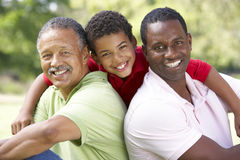 Avô com filho e neto no parque Imagens de Stock Royalty Free