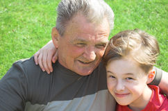 Avô com neto fotografia de stock